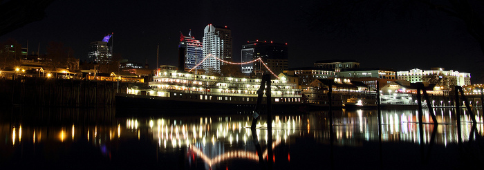 Delta Queen from West Sacramento Riverwalk at Night